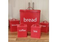 just reduced - Retro kitchen starter set. Full 5 piece storage for bread tea coffee sugar & biscuits