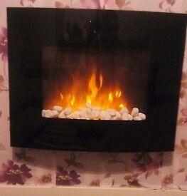 Black wallmounted electric fire