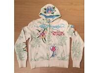 "Brand new vintage Ed Hardy ""Tiger Flower"" Medium white hoodie. Screen printed design"