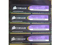 8GB (4 X 2 GB MATCHED PAIRS) CORSAIR XMS2 DDR2-800 PC2-6400 240 PIN RAM