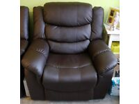Single Reclining Sofa Faux Leather Brown. Like new & barely used
