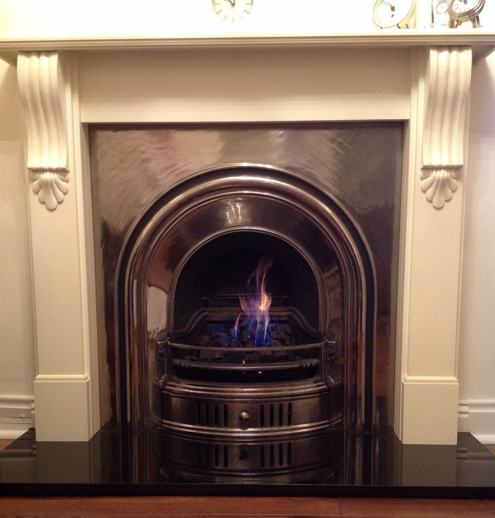 Fire Surround Fully Polished Cast Arched Insert Black Granite Hearth Open Coal Gas Fire In