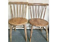 Victorian beech & elm wooden rustic chairs*price each