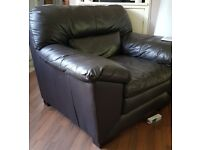 Brown leather sofa and armchair £125 or offers