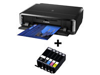 Wireless Printer, Canon ip7250 with 3 sets of inks, disc, cable, a little paper.