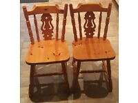 2x solid pine chairs £40