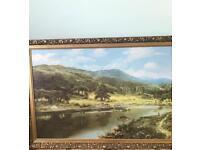 Large landscape scene picture golden frame