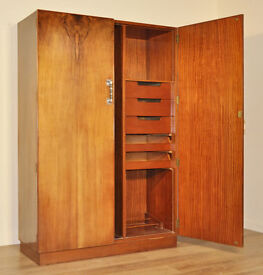 Attractive Very Large Vintage Art Deco Walnut Double Fitted Wardrobe Armoire