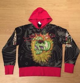 "Brand new vintage Ed Hardy ""King Bulldog Skull"" Large black hoodie with red trim. Screen printed"