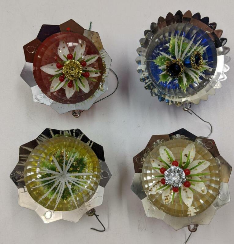 4 Vintage 1960s Jewelbrite Mirror Reflector Christmas Ornaments Bells Holly Star
