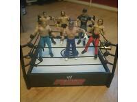 WWE wrestling ring 6 figures and belt