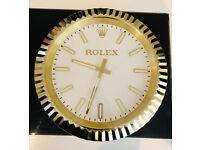 Rolex wall clock, Metal Classic Model, Gold Fluted Bezel