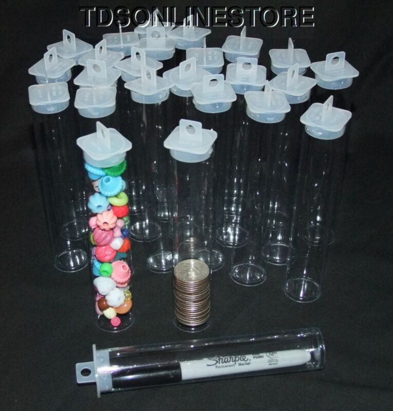 "Large Round Clear Plastic Storage Tubes 5.5"" by 1""  Package of 25"