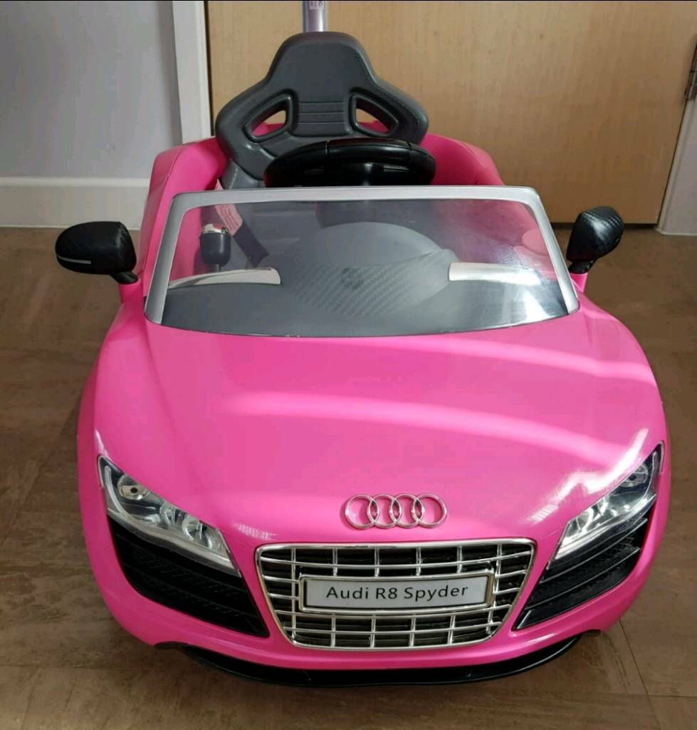 S Pink Audi R8 Spyder Push Along Buggy Car With Adjule Paal Handle Kids Toy