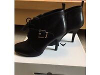 ALDO Jaber Black Leather Booties, Ankle Boots, Heeled Boots, Size 6