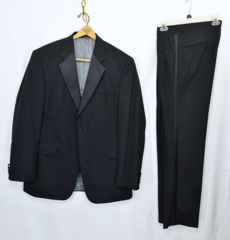 VTG 90s STAFFORD Black Tuxedo Dinner Jacket 2 pc Suit 44 Long