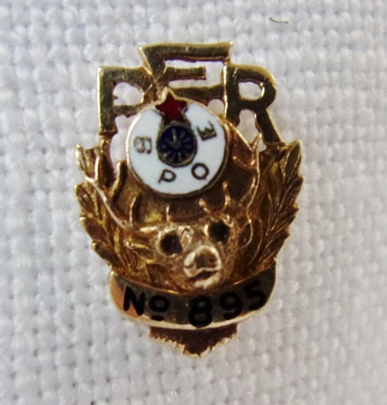 BPOE Elks PER (Past Exalted Ruler) Lodge 895 Lapel Pin 10K Gold
