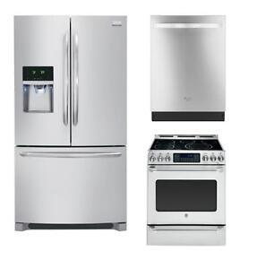 Combo cuisine en acier inoxydable : Frigo 36'', cuisinière 30'' et lave-vaisselle 24''