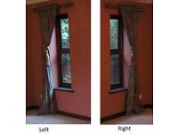 2 x Pair of curtains, 226cm wide, 188cm drop. Heavy quality & interlined. Also, poles & tie-backs.
