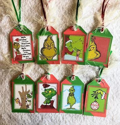 Christmas Gift Tags Set (Set of 8 Hang Tags~Christmas Grinch~Storybook~Gift)
