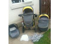 Baby pram 3 in 1 all included used for 6 months excellent condition
