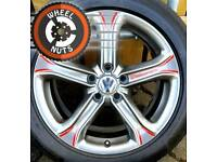 "17"" Customised Genuine Techniks alloys for VW refurb anthracite/red premium tyres."