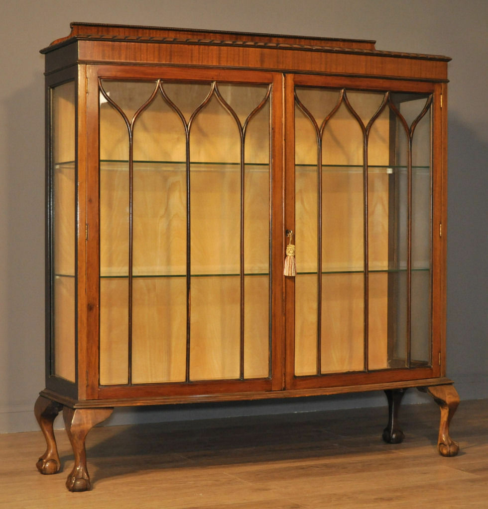 Attractive Large Vintage Mahogany Two Glazed Door Bow Front Display Cabinet