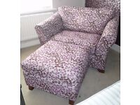 *** BEAUTIFUL M&S HOME LARGE ARMCHAIR (LOVESEAT) WITH MATCHING FOOTSTOOL ***