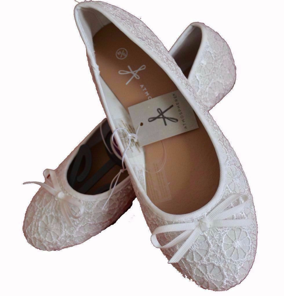 Atmosphere Primark Ladies Cream Lace Embossed Flowers Ballerina Pumps Flats Shoes.Size 5 | In ...