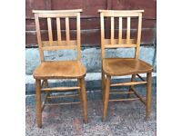 TWO OLD CHURCH / CHAPEL CHAIRS. MONKS BENCH, SETTLE & PEWS ALSO AVAILABLE.