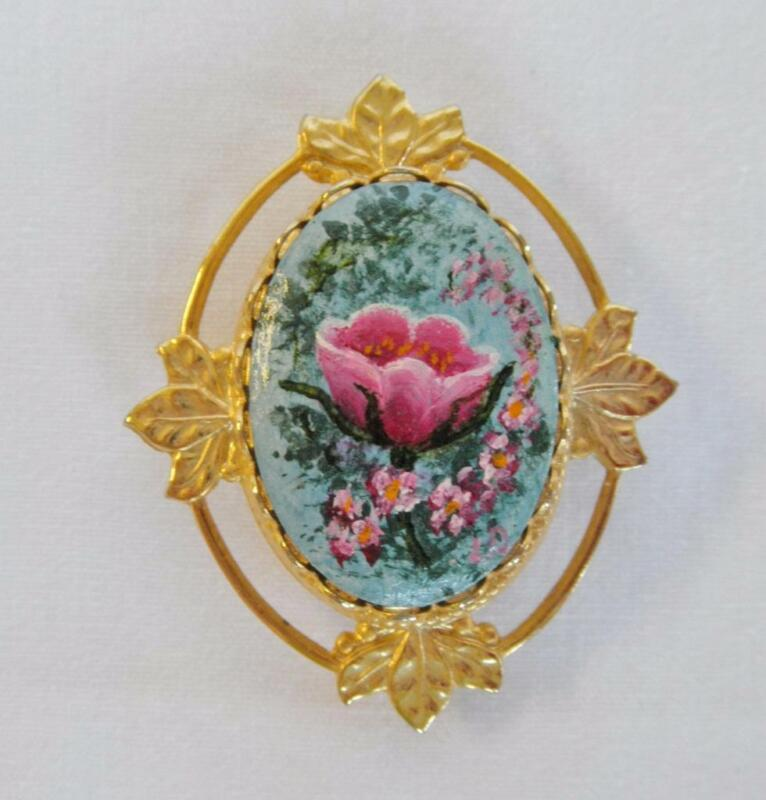 Vintage Hand Painted Cameo Pin/Pendant, Pink Flowers on Blue, Gold-tone Frame