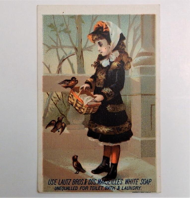 Antique Victorian Trade Card Lautz Bros. Marseilles White Soap