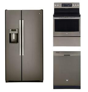 Slate kitchen appliances combo: 36'' fridge, 30'' convection range, 24'' dishwasher, GE