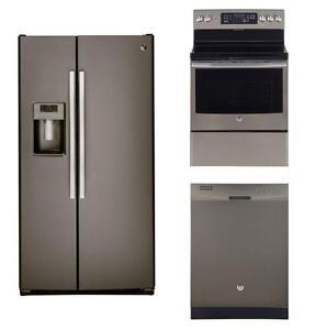 Slate kitchen appliances combo: 36'' fridge, 30'' convection range, 24'' dishwasher, GE