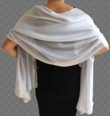 SILKY  Lightweight SILVER Grey WEDDING Evening Pashmina Style Shawl Wrap Scarf