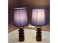 Pair of retro wooden lamps