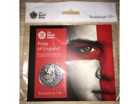 The Pride of England 2018 UK £5 Brilliant Uncirculated Coin.