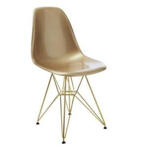 EIFFEL EAMES PLASTIC SEAT GOLD METAL BASE SIDE CHAIR DINING CHAIR