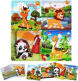 Brand new in sealed box - 4 piece wooden puzzle set