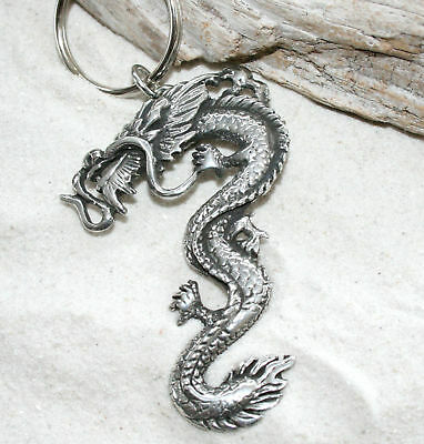 CHINESE DRAGON Orient Oriental ASIAN Silver PEWTER KEYCHAIN Key Chain Ring BIG