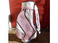 WILLIAM HUNT TRILBY GOLF TOUR BAG, PINK AND WHITE, NEW UNUSED WITHOUT TAGS