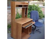 Teak effect computer desk with office chair