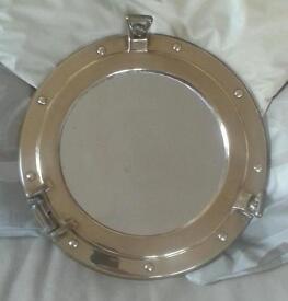 "Port hole solid brass mirror 11 1/2"""