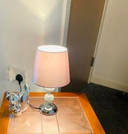 Brand new mosaic chrome table lamp with grey shade for sale.
