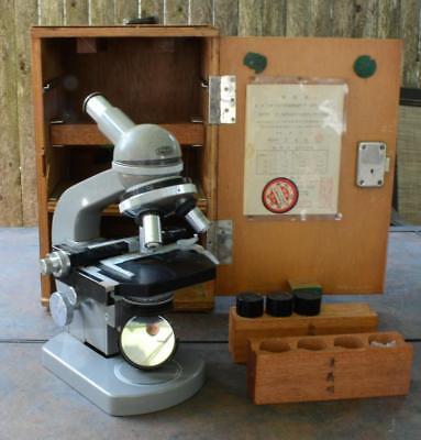 Vintage Olympus Tokyo Microscope Ec Mod Medicine Biology Wcase 3 Objectives