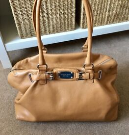 Michael Kors tan leather beige shopper tote handbag