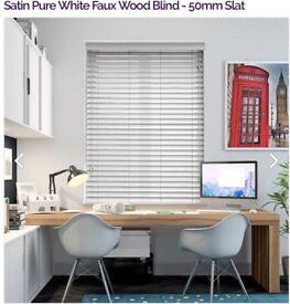 Blinds - 5 x Satin white faux wood Venetian blinds approx 600mm drop 1460 (adjustable) 50mm slat