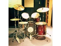 DRUM KIT, 1980'S PEARL EXPORT, PAISTE 2002 BLACK LABEL CYMBALS & ZILDJIAN SPECIAL SELECT HI HATS.