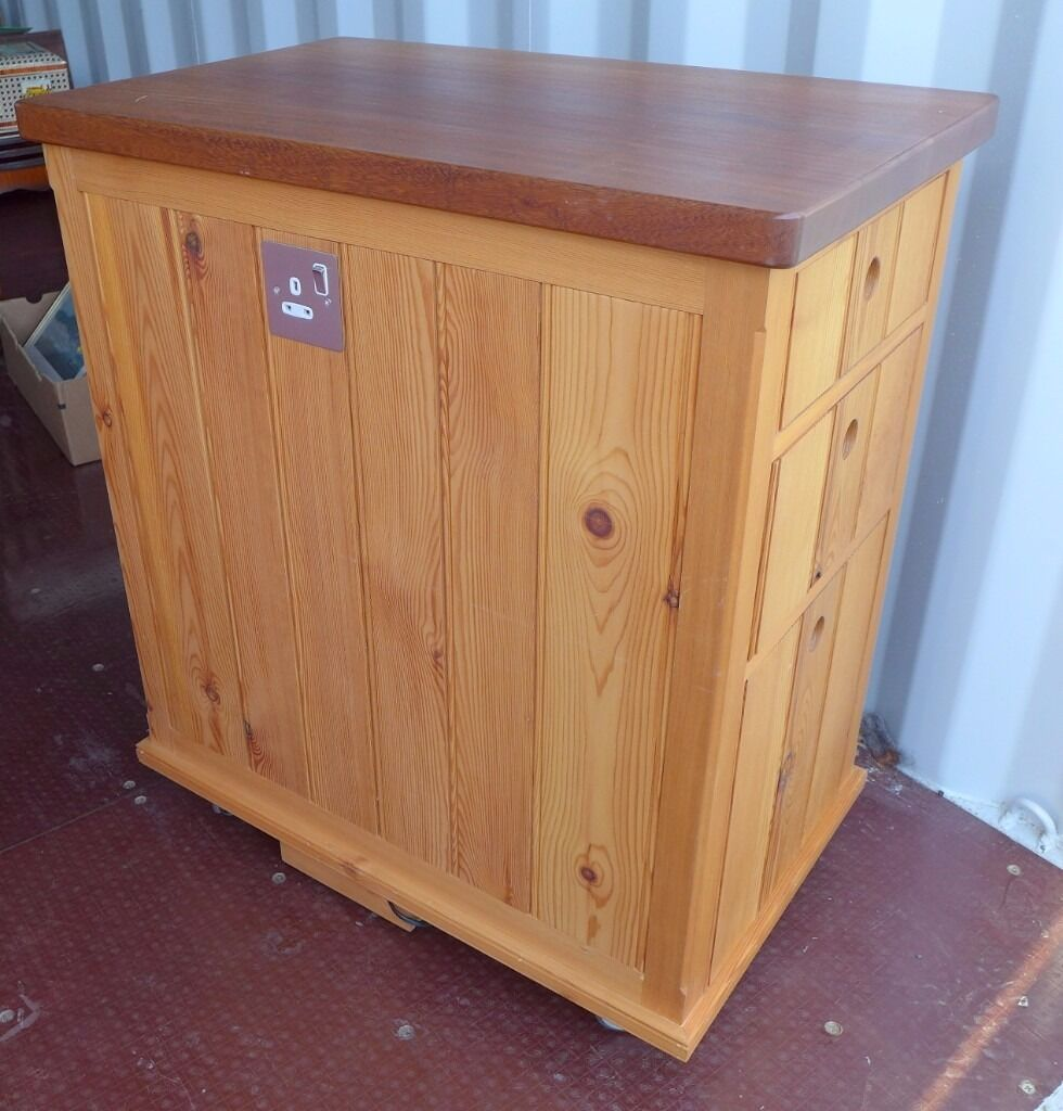 Handmade bespoke solid pine kitchen island - freestanding unit on castors