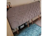 uper King Size 6ft Silver Grey Diamante Buttons Headboard